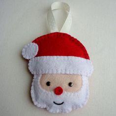Felt Santa Handmade Ornament by rosecottagedesignss on Etsy, £4.50
