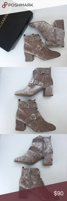 NIB Rebecca Minkoff Velvet Logan Bootie New in box Rebecca Minkoff Logan booties. Size 9.   - Crushed velvet - Side-zip closure - Wrapped block heel  - Silver buckle and rivet details   The sole is a little dirty just from being tried on in store. Rebecca Minkoff Shoes Ankle Boots & Booties