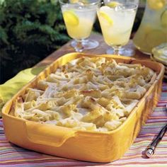 Three-Cheese Baked Pasta- Ingredients 1 (16-oz.) package ziti pasta 2 (10-oz.) containers Alfredo sauce 1 (8-oz.) container sour cream 1 (15-oz.) container ricotta cheese 2 large eggs, lightly beaten 1/4 cup grated Parmesan cheese 1/4 cup chopped fresh parsley 1 1/2 cups mozzarella cheese Preparation 1. Cook ziti according to package directions
