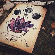 """shyowl: """" luna-patchouli: """" ♦︎-✨💜✨-♦︎ Available from my Etsy LunaPatchouli """" hippie vibes """" Crystal Drawing, Witch Aesthetic, Wiccan, Witchcraft, Book Of Shadows, Art Inspo, Painting & Drawing, Cool Art, Art Photography"""