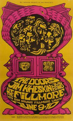 The Doors/Jim Kweskin Jug Band, June 9 & 10, 1967 - Fillmore Auditorium Art by Bonnie MacLean.