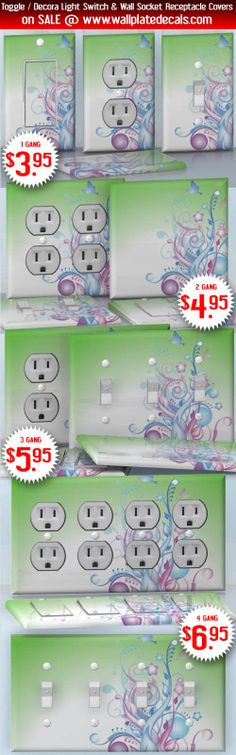 DIY Do It Yourself Home Decor - Easy to apply wall plate wraps | July Miracle  Morning bird above the garden  wallplate skin stickers for single, double, triple and quadruple Toggle and Decora Light Switches, Wall Socket Duplex Receptacles, and blank decals without inside cuts for special outlets | On SALE now only $3.95 - $6.95