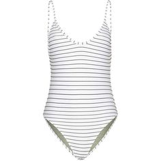 Hutton striped swimsuit (€205) ❤ liked on Polyvore featuring swimwear, one-piece swimsuits, swim suits, vintage swim suit, one piece swimsuits, swimming costume and denim bathing suit