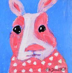 Pink Bunny Rabbit Portrait Painting