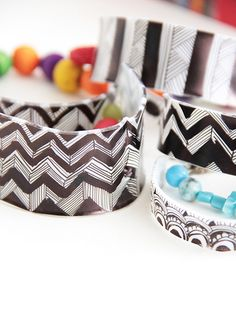 Graphic Bangle Bracelets made from shrink plastic/Shrinky Dinks - tutorial by Alisa Burke