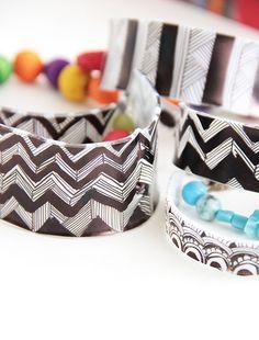 Graphic Bangle Bracelets made from shrink plastic/Shrinky Dinks - tutorial by Alisa Burke