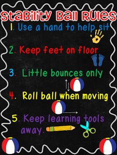 Crisscross Applesauce In First Grade: Stability Balls in the Classroom *Freebie* Classroom Layout, Classroom Tools, Classroom Freebies, Classroom Rules, Classroom Environment, Classroom Design, School Classroom, Classroom Ideas, Classroom Furniture