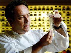 Chef Ferran Adria experimenting in his kitchen workshop in Barcelona, Spain