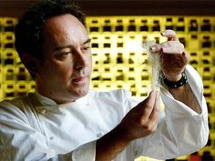 Chef Ferran Adria experimenting in his kitchen workshop in Barcelona, Spain