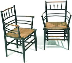 A pair of Morris & Co. Sussex chairs. Design attributed to Phillip Webb. This chair was used by Morris many times in his interiors. Circa 1865.