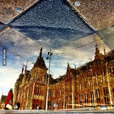 Reflections of Amsterdam Central Station. - 9GAG