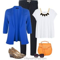 Cute work outfit!  Need the blazer or cardigan!  Have the white shirt and dark blue jeans.
