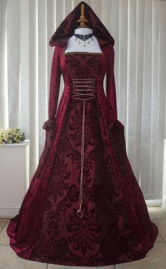 Medieval Gothic Handfasting Hooded Wedding Dress Burgundy, Dawns Medieval Dresses