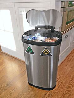 No room for a separate recycling bin? Motion-sensing Automatic Waste & Recycle Bin collects both trash and recyclables.