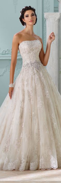 The David Tutera for Mon Cheri Spring 2016 Wedding Gown Collection - Style No. 116230 Jelena #tulleballgownweddingdress