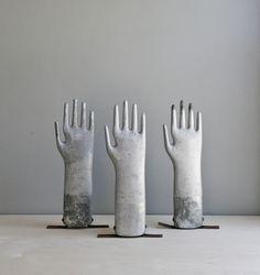 Fab modern decor.  Vintage industrial aluminum glove mold. $48.00, via Etsy.