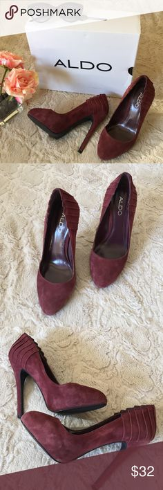 Aldo Suede Heels Great condition. Gently used-- minor signs of wear (see pics). Box not included. Perfect for Fall. Offers great support. Beautiful deep maroon color. Bundle and save😄💕 Aldo Shoes Heels