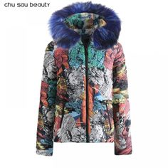 2018 New Short Winter Jacket Women Thickening Warm Outerwear Parkas Female Cotton Padded Loose Coats Hooded feminina Cotton Coat Winter Jackets Women, Coats For Women, Clothes For Women, Supreme Clothing, Floral Pants, Cotton Pads, Summer Dresses For Women, Warm, Female
