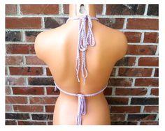 Lavender Crochet Hippie Crop Top by Vikni