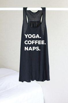 Yoga Coffee Naps Yoga Shirt Flowy tank Yoga Top by ArimaDesigns $28