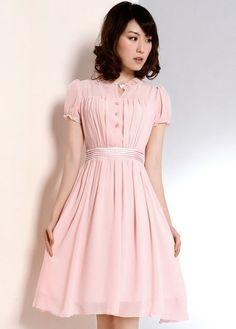 Bohemian Style Short Sleeve Button Fold Design Pink Chiffon Dress   martofchina.com Cute for the wedding showers!
