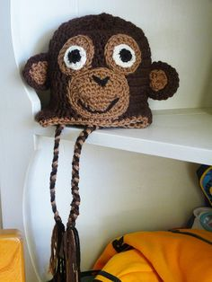 Snuggly Crocheted Monkey Hat for baby and all by BabyBeansCrafts, $14.00