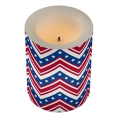 Red White Blue Zigzag Chevron Flameless Candle