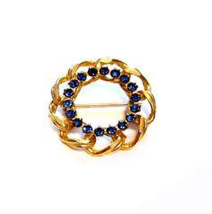 Vintage Blue Rhinestone Brooch, Gold Pin