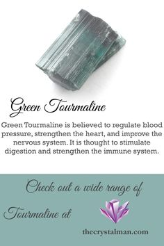 This absolutely stunning piece of Green Tourmaline is thought to regulate blood pressure, strengthen the heart, and improve the nervous and immune systems. Own a piece today!
