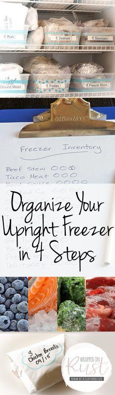 Organize Your Upright Freezer in 4 Steps - Wrapped in Rust Freezer Organization, Refrigerator Organization, Home Organization Hacks, Kitchen Organization, Freezer Storage, Organizing Life, Organizing Ideas, Upright Freezer, Homemade Deodorant