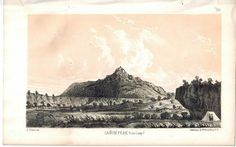 Canon Peak from Camp 7 1853 American Indian Antique Litho Print