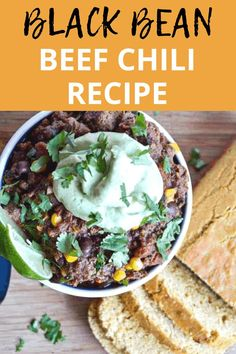 This black bean chili with beef is SOOO good and SUPER EASY to make! Plus there's a recipe for healthy avocado and Greek yogurt crema topping! Chili Recipe With Black Beans, Beef Chili Recipe, Chili Recipes, Good Healthy Recipes, Vegetarian Recipes, Chili Toppings, Avocado Crema, Greek Yogurt Recipes, Sweet Potato Chili