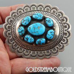 Native American Carson Blackgoat Navajo Sterling Silver Turquoise Scalop Edged Pendant Pin Combo