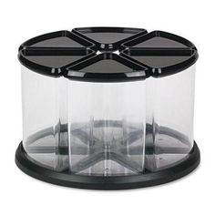 """deflect-o 6-Canister Carousel Organizer, Plastic, 11-1/8"""" x 11-1/8"""", Black/Clear"""