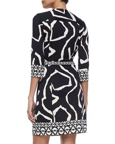 Abstract Silk Wrap Dress, Black