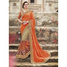 Ethnic Wear Tussar Art Silk Beige & Orange Saree - 2404