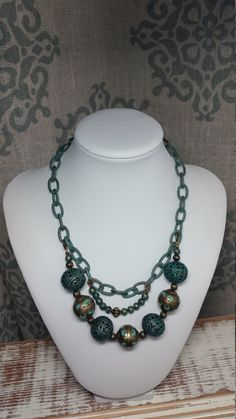 Statement necklace,boho,chic,gypsy,link chain,patina,turquoise,aqua,filigree,large beads,copper,metal, brass by DenaJewelryDesigns on Etsy