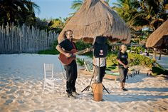 On the One (@ontheonetulum) played some music under the sun for the white ceremony - Emily & Rishi's destination wedding in Tulum