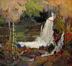 "dappledwithshadow: "" Woodland Waterfall Tom Thomson McMichael Canadian Art Collection (Canada) Painting - oil on canvas Height: cm in. Emily Carr, Group Of Seven Artists, Group Of Seven Paintings, Canada Landscape, Landscape Art, Landscape Paintings, Canadian Painters, Canadian Artists, Tom Thomson Paintings"
