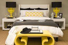 Black, white & yellow studio - bedroom area entire homes bed Dream Bedroom, Bedroom Bed, Bedroom Decor, Master Bedroom, Bedroom Ideas, Yellow Bedroom Paint, Bed Nook, Couple Bedroom, Mellow Yellow
