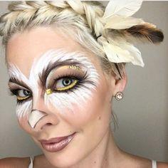 Looking for for ideas for your Halloween make-up? Check this out for creepy Halloween makeup looks. Owl Makeup, Bird Makeup, Animal Makeup, Makeup Ideas, Makeup Jobs, Makeup Geek, Makeup Inspiration, Owl Face Paint, Face Paint Makeup