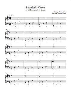 Canon by Pachelbel Piano Sheet Music | Intermediate Level