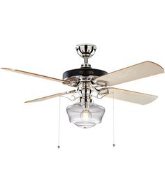 Heron Ceiling Fan with Light Kit Polished Nickel Maple Blades Clear Ogee Schoolhouse Shade Polished Nickel Finish with Maple Blades