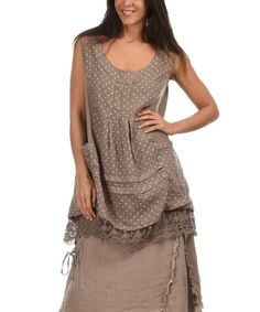 Another great find on #zulily! Taupe & Cream Polka Dot Lace Linen Tunic by LIN nature #zulilyfinds