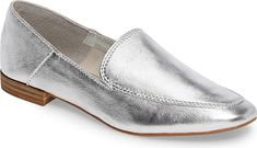 Dolce Vita Women's Shoes in Silver Leather Color. Timeless detailing like an apron toe, an unadorned vamp and a low stacked heel bring all-season versatility to a wardrobe-essential loafer. Loafer Shoes, Women's Shoes, Loafers, Silver Shoes, Apron, Kitten Heels, Kicks, Bring It On, Footwear