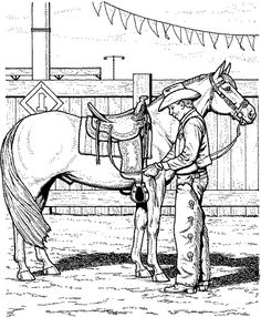 Little Girl Riding Horse Animal Coloring Pages Color