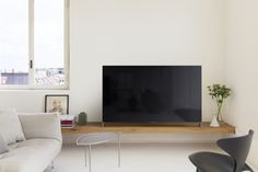 Sony TV, by Hirotaka Tako and Sony Design Team Floating Tv Stand, Floating Shelves, Tv Wanddekor, Sony Design, Tv Wall Decor, Interior Decorating, Interior Design, Living Room Tv, Hanging Shelves