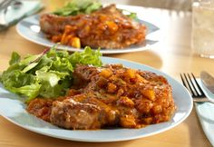 Zesty Pork Chops - ready to eat in 40 minutes!!  With picante sauce, brown sugar and apples - yummy!!