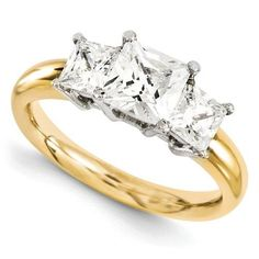 14 kt Two-Tone Gold 3.30 CTW Three Stone Engagement Ring - Celestial Premier Moissanite Ring