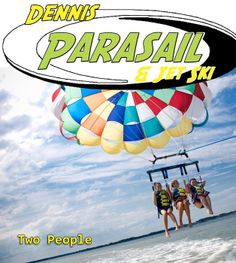 Dennis Parasail & Jet Ski. No need to go on a separate excursion for a thrill ride. We now have a boat that cruises at speeds up to 50 MPH! Now we can get you out to the ocean FASTER.  Not only is it an exciting thrill ride but it also means less travel time and MORE AIR TIME! Dennis Parasail owns and operates the ONLY Coast Guard Inspected parasail boat on Cape Cod and employ only the most qualified, experienced captains.